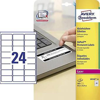 Avery-Zweckform L6146-20 Labels (A4) 63.5 x 33.9 mm Polyester fi