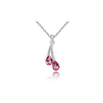 Waterdrop Pendant Necklace Jewellery in Silver and Pink