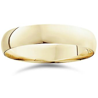 5mm Dome hoogvlakte gepolijst bruiloft Band 10K Yellow Gold Ring