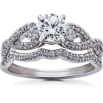 1 1/6ct Diamond Infinity Engagement Wedding Ring Bridal Set 14K White Gold