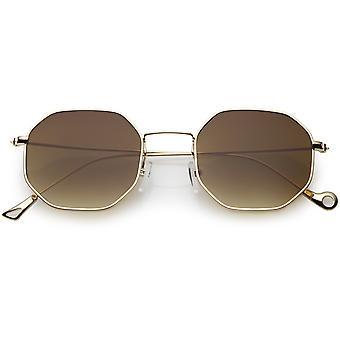Geometric Octagon Sunglasses Ultra Slim Metal Neutral Colored Flat Lens 49mm