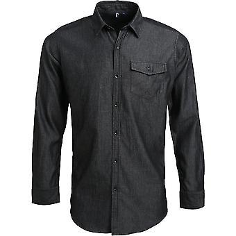 Premier Mens Jeans steek Denim katoen Smart Casual Business Shirt