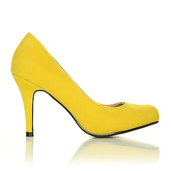 PEARL Yellow Faux Suede Stiletto High Heel Classic Court Shoes