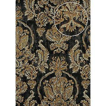 Baroque wallpaper ATLAS CLA-602-9 non-woven wallpaper embossed with floral ornaments shiny grey beige grey gold Brown 5.33 m2