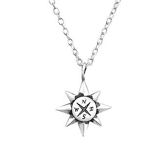 Compass - 925 Sterling Silver Plain Necklaces - W32236x