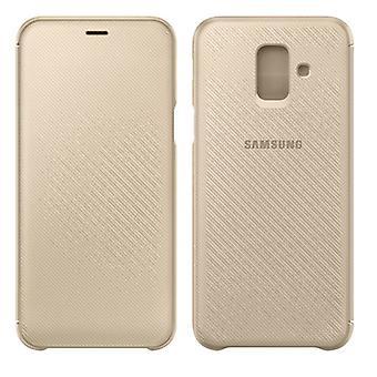 La couverture de portefeuille Samsung affaire EF WA600CFEGWW Galaxy A6 2018 A600F manchon de protection en or