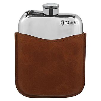Plain Polished Pewter Purse Flask With Captive Top In Tan Leather Pouch - 6oz