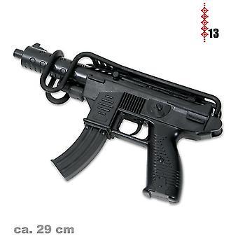 UZI 29cm con bracciolo e 13 strisce munizioni giocattolo pistola armi guerra