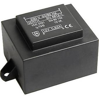 Transformador de montaje PCB 1 x 230 V 2 x 9 V AC 10 VA 555 mA