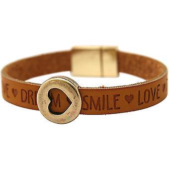 Gemshine - damer - armband - hjärta - love Brown - magnetlås - önskemål-