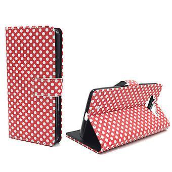 Handyhülle Tasche für Handy Microsoft Lumia 950 Polka Dot Rot