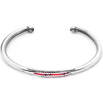 Anchor and Crew Trent Silver and Rope Bangle - Red Dash