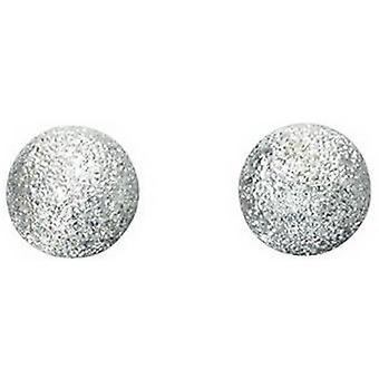 Beginnings Large Diamond Cut Ball Stud Earrings - Silver