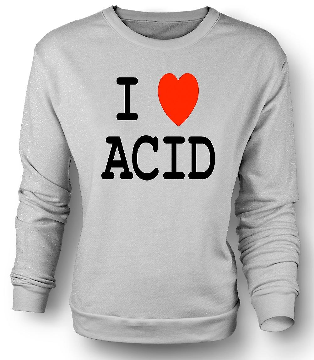 Mens-Sweatshirt I Love Heart Acid - lustig