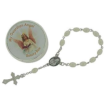 Juliana Girls 'My Guardian Angel' Simulated Pearl Rosary Bracelet 6