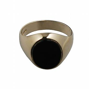 9ct Gold 12x10mm Onyx cushion gents Signet Ring Size R