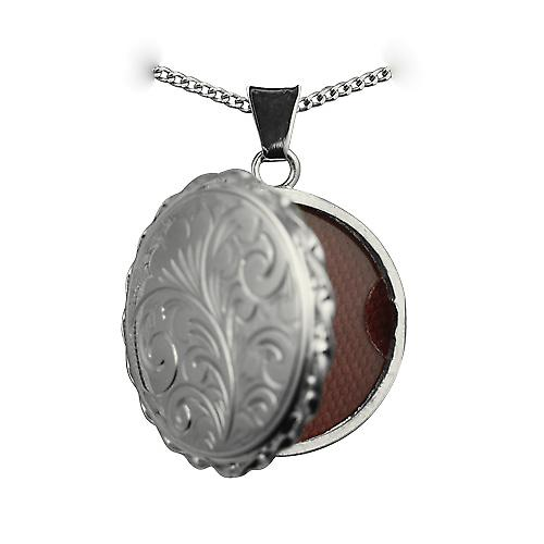 Silver 25mm engraved twisted wire edge flat round Locket with a curb Chain 18 inches