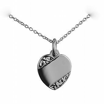 Prata 16x14mm mão coração gravada discos com um rolo corrente 24 polegadas