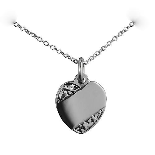 Silver 16x14mm Hand engraved Heart Disc with a rolo chain