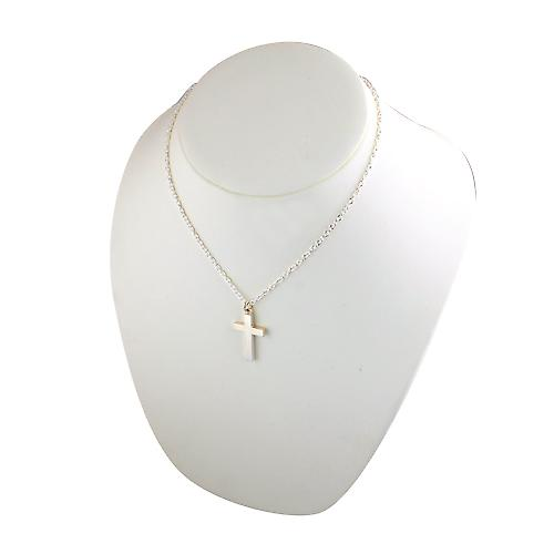 Silver 30x20mm plain solid block Cross with a cable Chain 18 inches