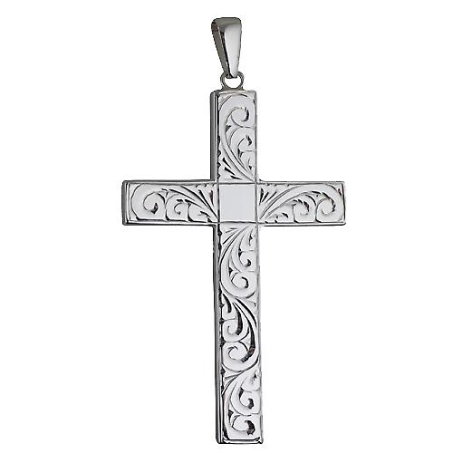 Silver 60x38mm hand engraved solid block Cross with bail on a cable Chain 18 inches