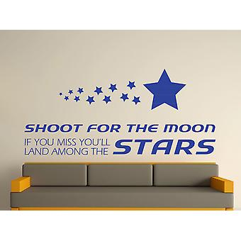 Shoot For The Moon Wall Art Sticker - Brilliant Blue