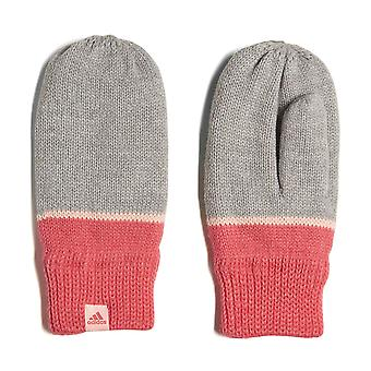 adidas Stripy Little Kids Knitted Winter Mittens Gloves Grey/Pink