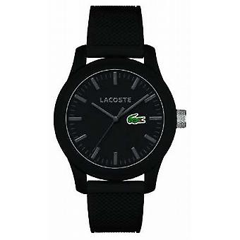 Lacoste Mens 12.12 black silicone strap black dial 2010766 Watch
