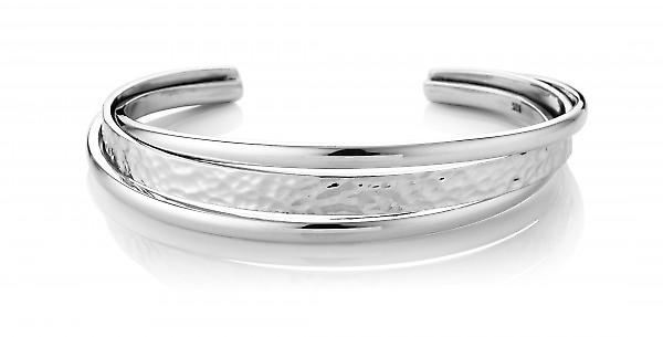 Cavendish French Sterling Silver Round Edge Hammered Spring Bangle