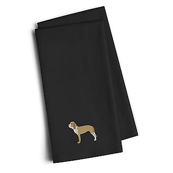 Spanish Hound Black Embroidered Kitchen Towel Set of 2