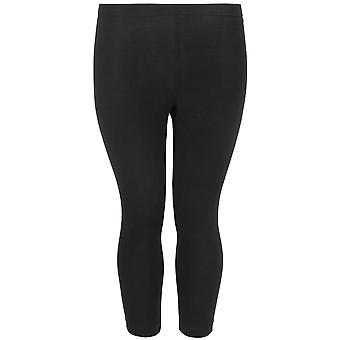 Black Cotton Elastane Cropped Leggings
