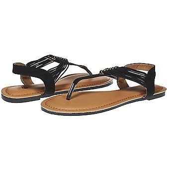 Sara Z Womens T Strap Elastic Vamp Flat Thong Sandal