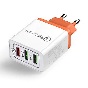 Stuff Certified® Qualcomm Quick Charge 3,0 Triple (3x) USB-poort iPhone/Android muur lader Wallcharger oranje