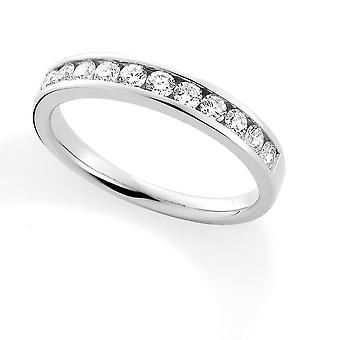 Jewelco London 18ct valkoinen kulta timantti 0.50 CT Eternity Hääbändi Ring-3.4 mm