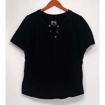 Denim et Cie. Femmes apos;s Top Short Sleeve w/ Lace-up V-Neck Black A291620