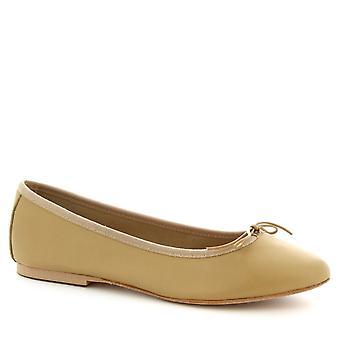 Sapatos Leonardo mulheres ' s handmade ballet sapatilhas em couro de bezerro bege