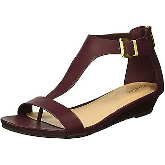 Kenneth Cole REACTION Women's Gal T-Strap Low Wedge Sandal, Burgundy, 7 M US