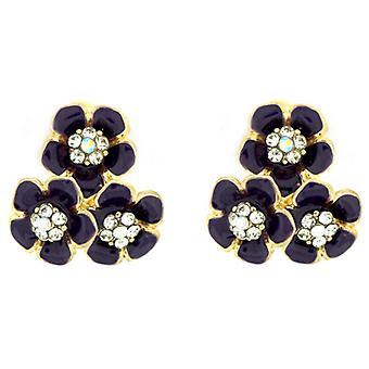 Clip On Earrings Store Purple Enamel & Crystal Triple Daisy Flower Clip On Earrings