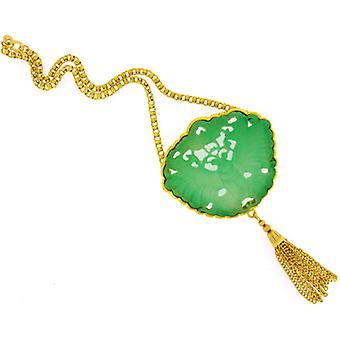 Kenneth Jay Lane Jade Resin Carved Filigree Pendant with Tassels