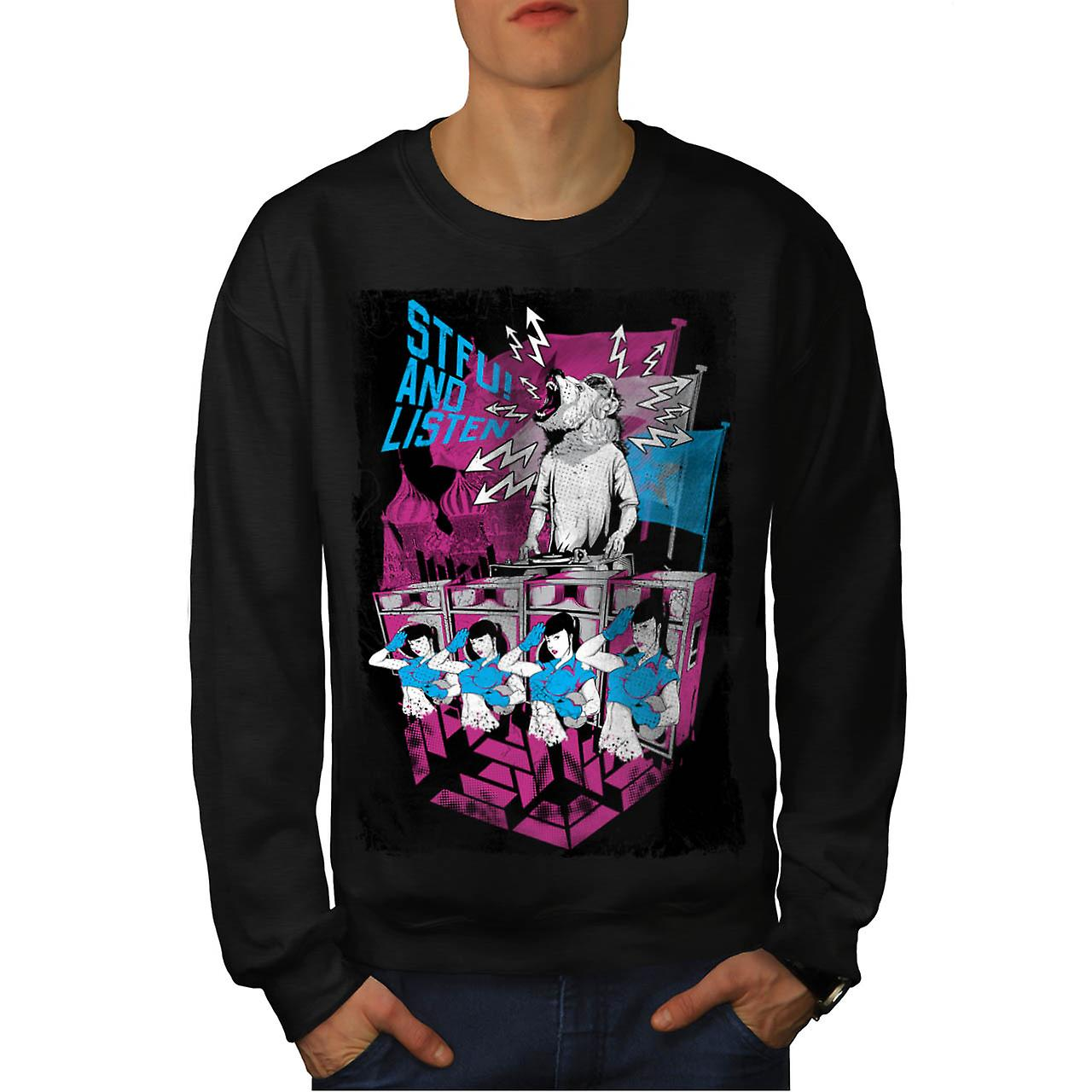 DJ Music Brown Bear Dance Rave Men Black Sweatshirt | Wellcoda