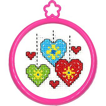 My 1st Stitch Hearts Mini Counted Cross Stitch Kit-3