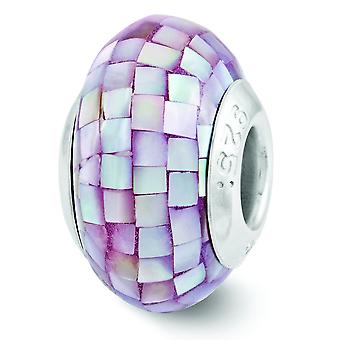 Sterling Silver Reflections Purple Mother Of Pearl Mosaic Bead Charm