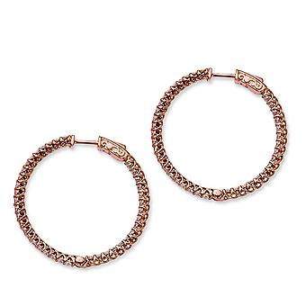 In zilver roze verguld met CZ scharnierend Hoop Earrings Hoop Earrings