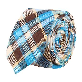 Andrews & co. narrow tie Club tie blue brown beige Tartan