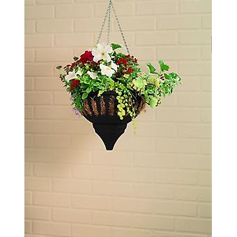 Small Aqua Lock Hanging Basket Black