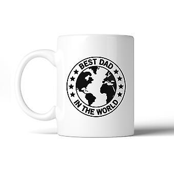 Mundo mejor papá diseño único blanco 11oz taza de cerámica para el día de padres