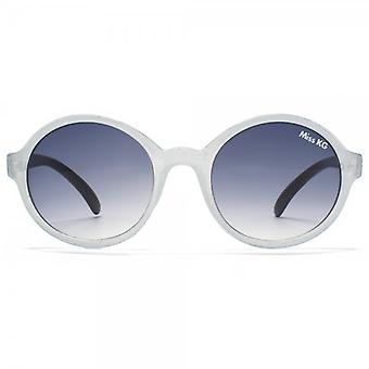 Miss KG Plastic Round Sunglasses In Pale Blue Glitter
