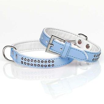 Mgz Alamber Collar Diamantes 2 Filas Azul 25 X 2 Cm (Chiens , Equipement , Colliers)