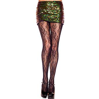 Tights with lace flower motif