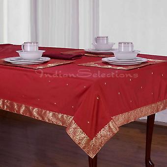 Marrón - Sari hecho a mano mantel (India)